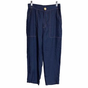 Zara High-Waisted Blue Trousers Zip Fly Closure Sm